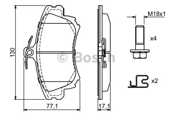 Комплект тормозных колодок BOSCH 0 986 424 541 (BP292, E9 90R-01899/246, 21983, 7712D837)