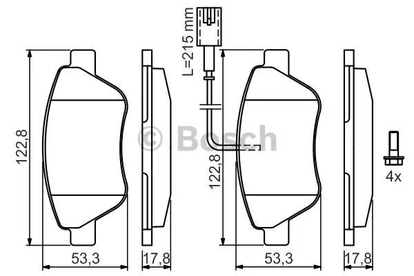 Комплект тормозных колодок BOSCH 0 986 424 597 (BP339, E11 90R-01770/7211, 23705)