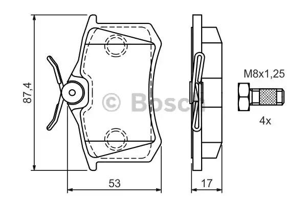 Комплект тормозных колодок BOSCH 0 986 424 751 (BP460, E1 90R-011209/084, 23554)
