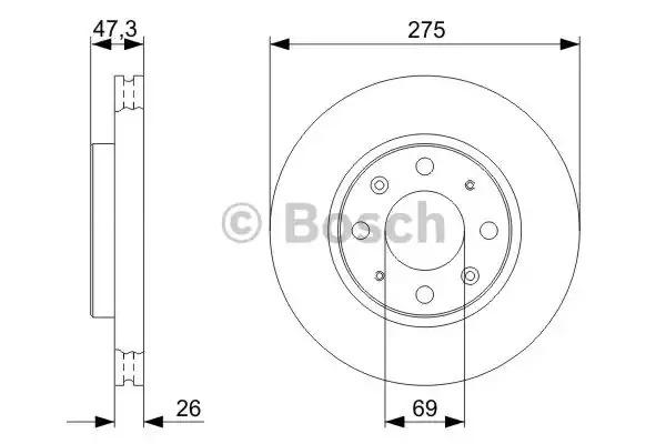 Тормозной диск BOSCH 0 986 479 369 (BD1208)
