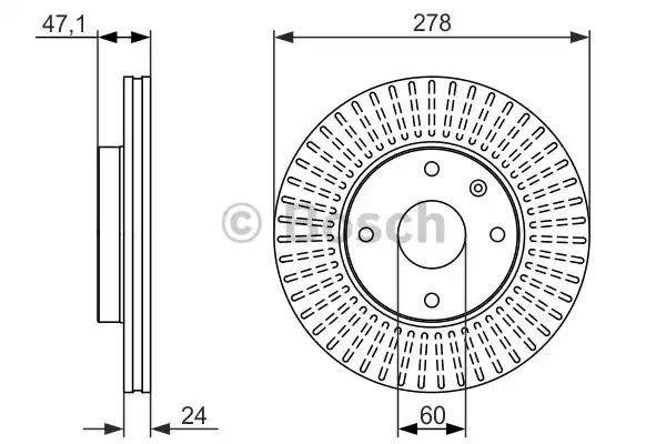 Тормозной диск BOSCH 0 986 479 649 (BD1493, E1 90 R - 02C0074/0448)