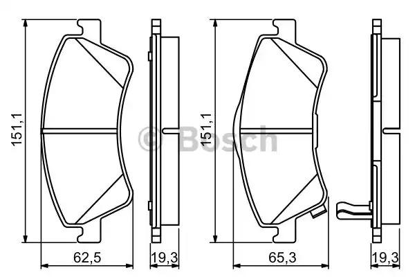 Комплект тормозных колодок BOSCH 0 986 494 187 (BP1134, E9-90R-01870/2340, 24204)