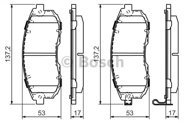 Комплект тормозных колодок BOSCH 0 986 494 337 (BP1227, E9 90R-02A1080/0113, 21561)