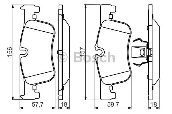 Комплект тормозных колодок BOSCH 0 986 494 561 (BP1482, E9 90R-02A0870/3752, 25014)